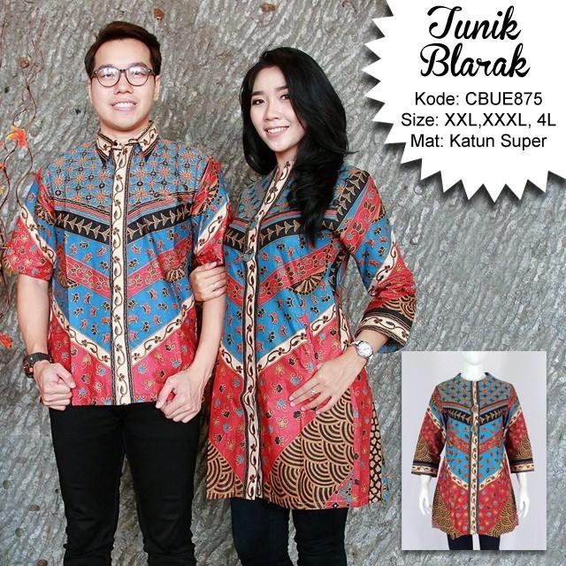 Baju Batik Wanita Ukuran Jumbo: Atasan Wanita Tunik Jumbo Batik Blarak 9002