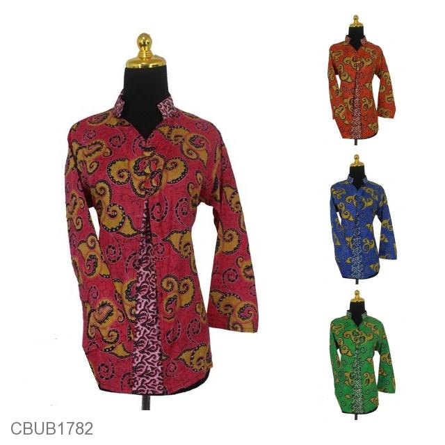 Baju Batik Blus Panjang Motif Abstrak Mega Mendung Warna  b4f6c368f6