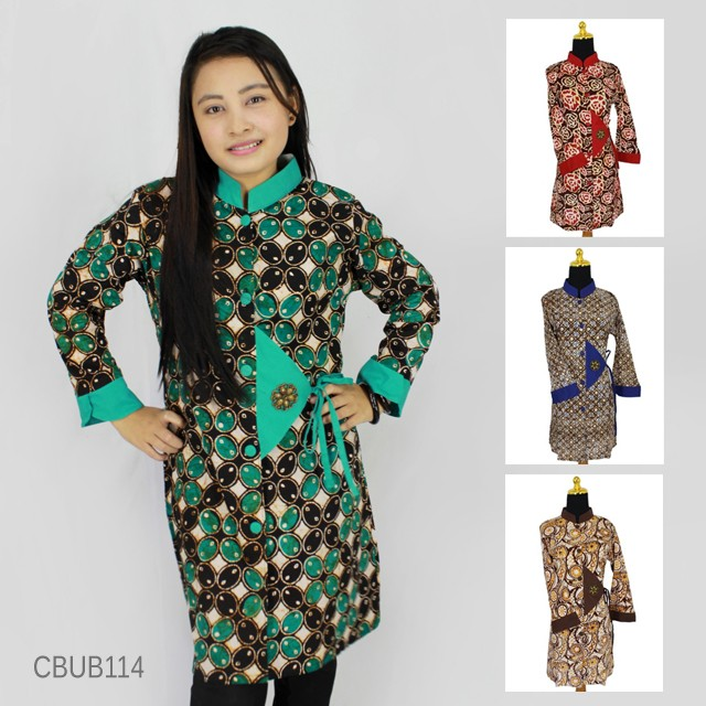 Baju Batik Lengan Panjang Vector: Baju Batik Blus Panjang Abstrak
