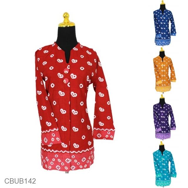 Baju Batik Blus Panjang Jumputan Blus Lengan Panjang Murah