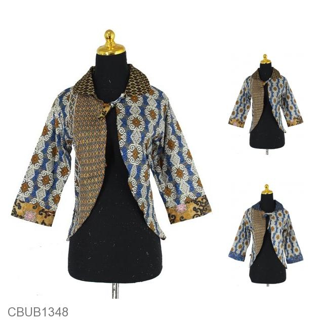 Baju Batik Bolero Motif Songket Baris Rompi Bolero