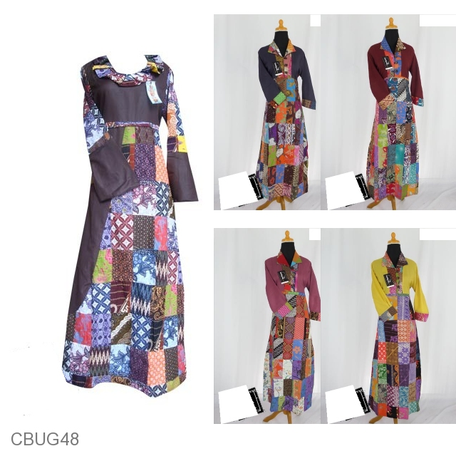 Baju Batik Gamis Anak Motif Etnik Kombinasi Gamis Batik