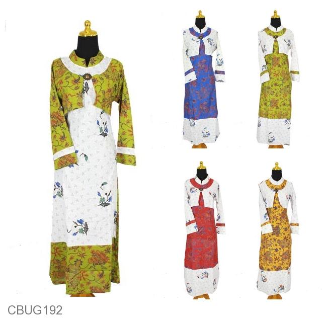 Baju Batik Gamis Katun Motif Batik Daun Cakar Kembang