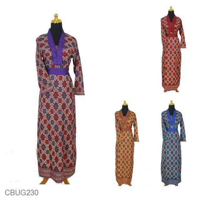 Baju Batik Gamis Katun Motif Songket Etnik Tumpal Gamis
