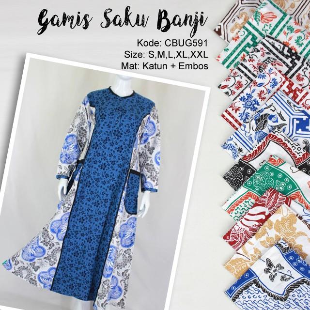 Baju Batik Gamis Saku Motif Banji Gamis Batik Murah