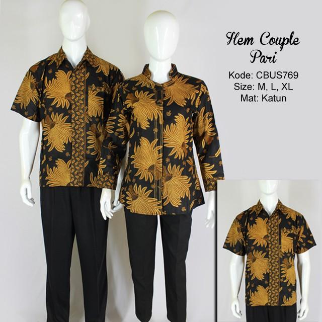 Baju Batik Hem Couple Pari Kemeja Lengan Pendek Murah Batikunik Com