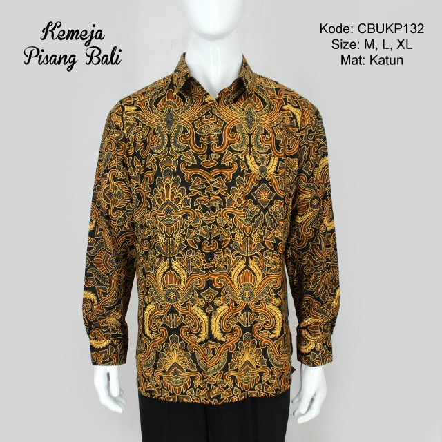 Baju Batik Lengan Panjang Vector: Baju Batik Kemeja Panjang Motif Pisang Bali