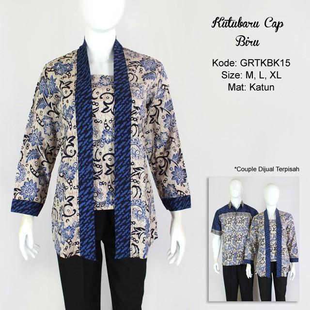 Blouse Batik Cap Atasan Kutubaru Warna Biru  faefe22f02