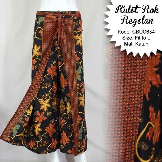 Celana Batik Modern Pria: Celana Kulot Rok Batik Katun Motif Anggur