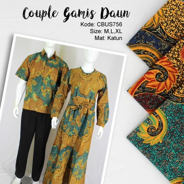 Baju Couple Batik Gamis Klok Motif Daun | Kemeja Lengan ...