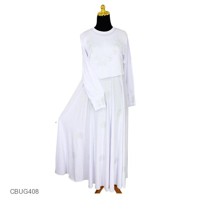 Gamis Putih Cristal Cempaka Gamis Muslim Murah Batikunik Com