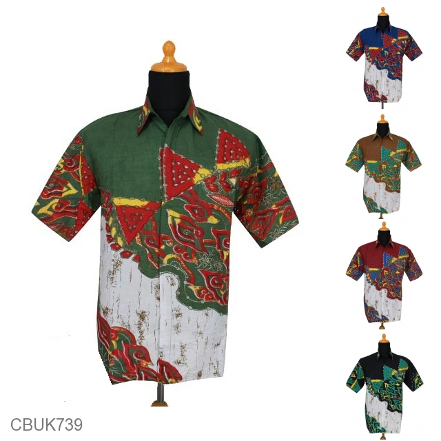 Kemeja Batik Mega Mendung Wanita: Kemeja Batik Motif Mega Mendung Gradasi Warna