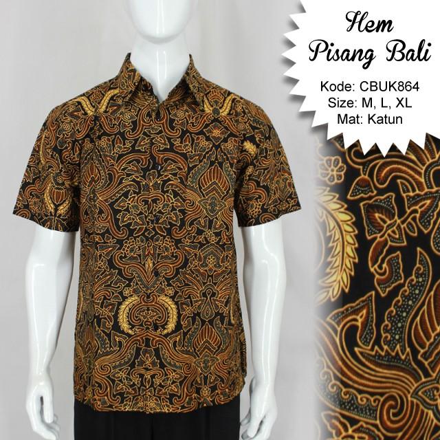Kemeja Batik Motif Pisang Bali Kemeja Lengan Pendek Murah