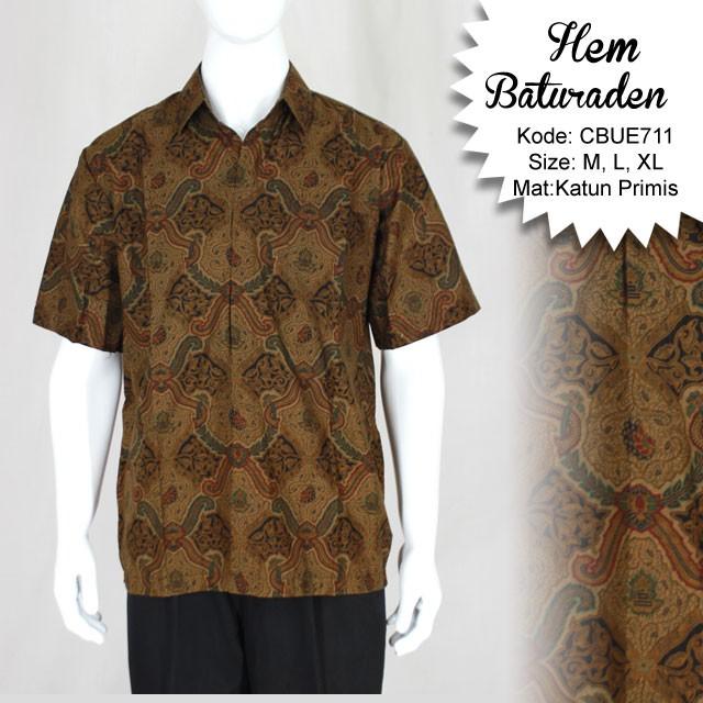 Kemeja Batik Lasem: Kemeja Pendek Batik Baturaden Motif Ceplok Lasem